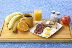 Breakfast on wooden plank Royalty Free Stock Photos