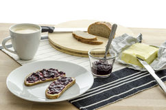 Breakfast on a wooden table Royalty Free Stock Photography