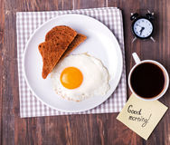 Breakfast on the wooden table Royalty Free Stock Photos