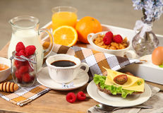 Breakfast on wooden table royalty free stock photos
