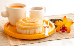 Breakfast wth bread and cup of milk tea. Stock Images