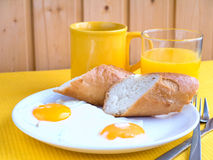 Breakfast on the yellow tablecloth Royalty Free Stock Photography
