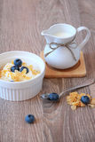 Breakfast. Yogurt with cereal and blueberry Royalty Free Stock Photo