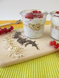 Breakfast with yogurt, chia seeds, oatmeal and berries Royalty Free Stock Image
