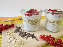 Breakfast with yogurt, chia seeds, oatmeal and berries Royalty Free Stock Images