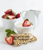 Breakfast with Yogurt coated granola bars Stock Photo
