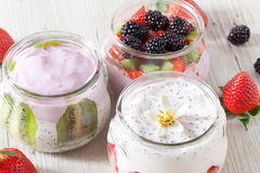 Breakfast With Yogurt And Fruits Royalty Free Stock Photo