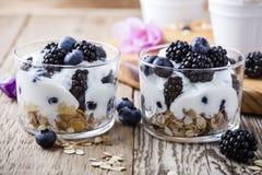Breakfast with yogurt, homemade granola and fresh berries stock photo