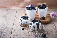 Breakfast with yogurt, homemade granola and fresh berries royalty free stock photos