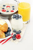 Breakfast. Yogurt, Orange Juice, Berries and Croissant Royalty Free Stock Photos