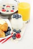 Breakfast. Yogurt, Orange Juice, Berries and Croissant Royalty Free Stock Photos