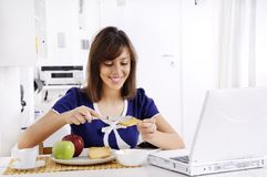 Breakfast of young woman Royalty Free Stock Photo