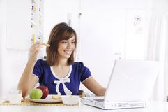 Breakfast of young woman Stock Photography