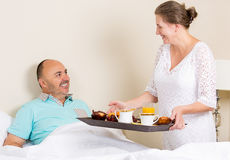 Breakfats in bed on father's day Stock Images