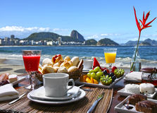 Breakfest by the beach Royalty Free Stock Photos