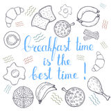 Breakfest hand drawn icon over white background Royalty Free Stock Images
