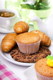 Breakfest with tea and fresh baking Royalty Free Stock Photo