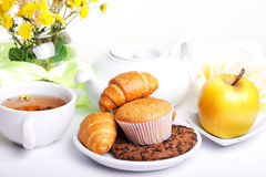 Breakfest with tea and fresh baking Stock Images