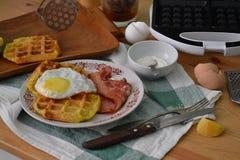 Breakfst waffles. Breakfast waffles, eggs,  bacon eggs Royalty Free Stock Photo