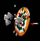 Breaking Through. Three 3D darts hitting the dart board and breaking through it Stock Photo