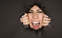 Exuberant Woman Showing Teeth Breaking In Stock Image