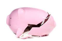 Breaking The Bank. A piggy bank breaking on a white isolated background Stock Images