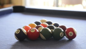 Breaking Billiard Balls On Pool Table stock video footage