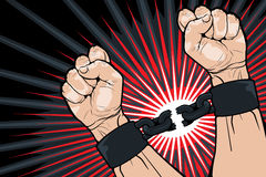 Breaking the bonds for freedom. Conceptual image of breaking the bonds in a bid for for freedom and liberty with a strong man clenching his hands to snap the Stock Photography