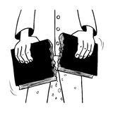 Breaking a book. Illustration with a person who breaks the book into two Stock Image