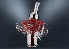 breaking bottle with red splash royalty free stock image