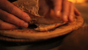 Breaking bread tight pan stock video
