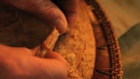 Breaking bread tight shot above stock video