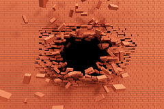 Breaking brick wall Royalty Free Stock Photography