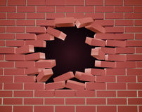 Breaking Brick Wall Hole Royalty Free Stock Photography