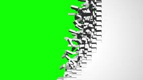 Breaking Brickwall Greenscreen Transition Stock Image