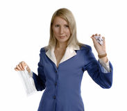Breaking business relations. Portret of a businesswoman, ruptures business contract Royalty Free Stock Photos