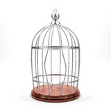Breaking cage. Breaking bird cage on  white background silver cage and wood ground. strong bird.freedom Royalty Free Stock Photography