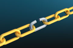 Breaking chain. Chain with one link breaking Stock Image