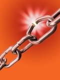 Breaking chain. Breaking link in a metal chain. Digital illustration Stock Photo