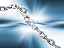 Breaking chain. 3D render of a chain breaking Royalty Free Stock Photo