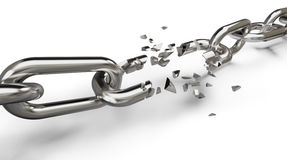 Breaking the chain. Concept on white Royalty Free Stock Image
