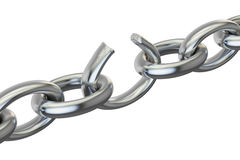 Breaking chain, 3D rendering. On white background Stock Images