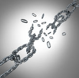 Breaking Chain Group. As a business concept for organization stress and partnership failure as a group of metal links exploding or as a metaphor for free your Royalty Free Stock Images