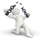 Breaking chains. 3D personage breaking chains on white background royalty free illustration