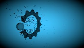 Breaking cogwheel Stock Images