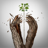 Breaking Through Concept. As a green sapling growing upward and destroying a tree barrier as a business success metaphor for potential ambition and strong will stock illustration
