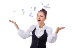 Breaking contract. Furious young woman throwing Stock Photography