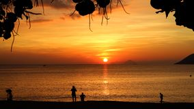 Breaking Dawn with Colorful Sky and The Sun in Nha Trang royalty free stock photo
