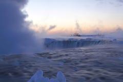 Breaking Dawn at Horseshoe Falls in Winter Stock Image