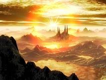 Breaking Dawn over Alien City in Snow vector illustration
